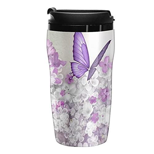Botella de agua mariposa flor púrpura diseño viaje tazas de café tazas con tapa