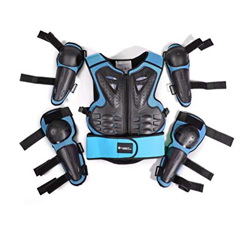 Traje de protección para niños de 5 a 13 años de edad, para motocross, ciclismo, esquí, patinaje sobre ruedas, Azul y negro.