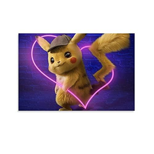 LINFENGAS Pokemon Detective Pikachu Decoración de la habitación Anime Poster Pintura decorativa Lienzo Arte de la pared Carteles de la sala de estar Pintura del dormitorio 20 x 30 cm