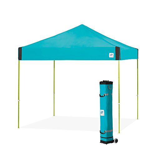 E-Z UP PR3LA10SP Pyramid Shelter, 10' x 10' with Wide-Trax Roller Bag & 4 Piece Spike Set, Splash Instant Canopy Popup Tent, 10 by 10'