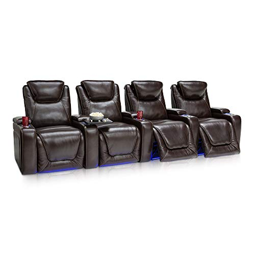 Seatcraft Equinox - Home Theater Seating - Top Grain Leather - Power Recline - Powered Headrest and Lumbar Support - Arm Storage - USB Charging - Cup Holders - Row of 4, Brown