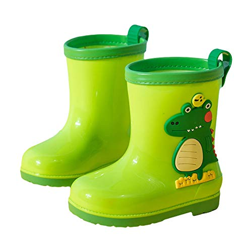 Hopscotch Boys and Girls PVC Animal Applique Rain Boots in Green Color, UK13 (CBS-3043063)