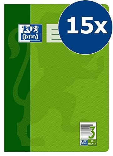 Oxford Schule Schulheft A4, liniert, Linieatur 3R, 16 Blatt, grün, 15er Pack