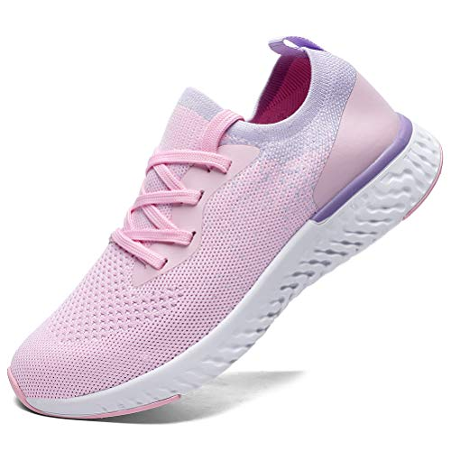 SANNAX Womens Running Shoes Fashion Casual Sneakers Walkingshoes Athletic Breathe Mesh Breathable Road Comfort Sport Pink