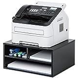 FITUEYES Soporte para Impresora Madera Negro con 3 Compartimentos Organizador de Escritorio para Oficina Casa 47x40x22.5cm DO204701WB