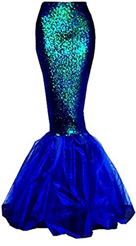 Women's Mermaid Costume Lingerie Halloween Cosplay Fancy Sequins Long Tail Dress with Asymmetric Mesh Panel, Blue, Medium