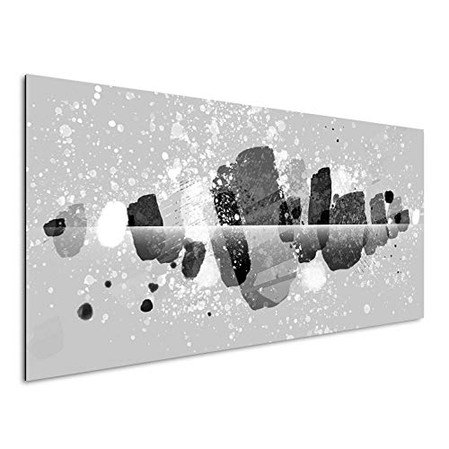 Vertikale Décoration Murale Tableau Alu Art Dripping Contemporain 120 x 60 cm (Noir et Blanc)