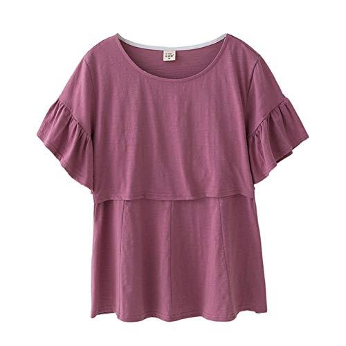 VIVIANE Ropa De Maternidad De Algodón Lactancia Maternidad Tops Camisa del Embarazo Ropa para Mujeres Embarazadas Tallas Grandes Desgaste Verano 2019 Purple, Size : XXL
