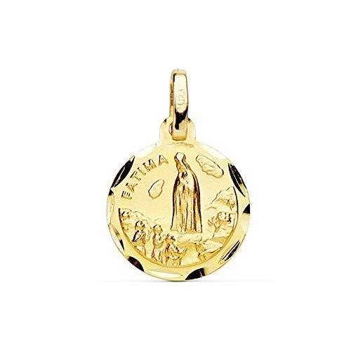Medalla Oro 18K Virgen De Fátima 14mm Cerco Tallado. [Ab3809]
