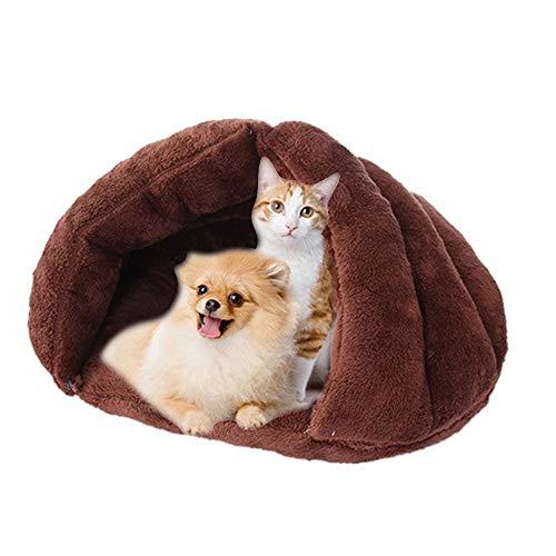 IEUUMLER Warm Kuschelbett Katzenkörbchen Katzenbett Kuschelhöhle Schlafsack für Katzen Kätzchen und Hund IE119 (Coffee)