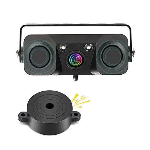 Cámara de reserva del coche, 3-en-1 170 grados de visión ancha HD Auto Reverse Cámara de visión trasera 2 LED de visión nocturna impermeable con 2 radar de aparcamiento Sensor Buzzer (CLPZ451)
