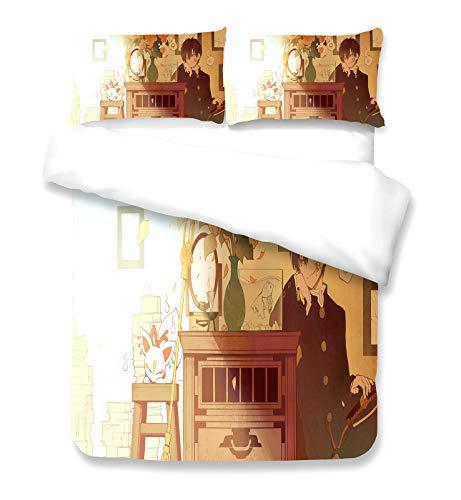 hibasing Japanese Anime Toilet-Bound Hanako-kun impresión Funda de edredón con Fundas de Almohada, Juego de Cama Funda nórdica 3 Pcs/Set(#1 EU Single 135 * 200cm)