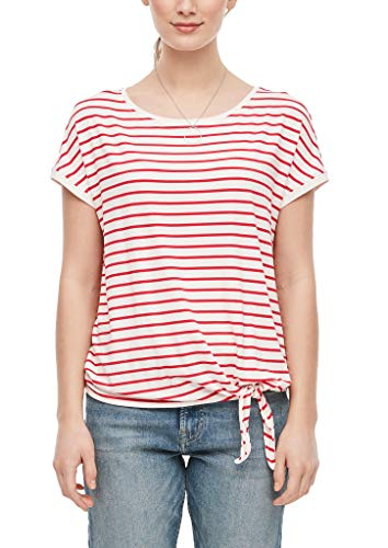 s.Oliver RED Label Damen Ringelshirt mit Knoten-Detail red Stripes 44