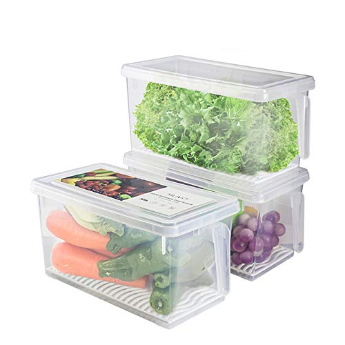 Produce Saver Refrigerator Organizer Bins for Fridge - 4.5L x 3 SILIVO FreshWorks Stackable Fridge Storage Containers with Removable Drain Tray for Produce, Fruits, Vegetables, Meat and Fish