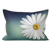 枕カバー 50×66cm ホテル品質 枕 カバー 防ダニ 抗菌 防臭 おしゃれ 封筒式 一輪のひなぎくの花 ピローケース