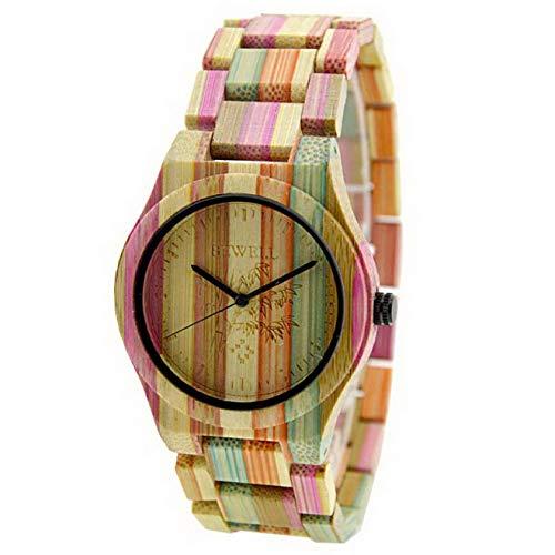 Relojes Reloj de Cuarzo para Hombre Reloj de Pulsera de bambú Natural Hecho a Mano Color Mezclado, Relojes Hombres y Mujeres