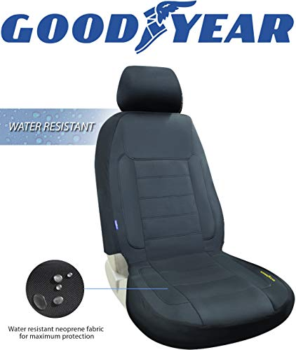 """Goodyear GY1247  Water Resistant Car Seat Cover  100% Pure Neoprene Fabric for Maximum Protection  Fits Most Vehicles  Headrest Cover 10""""H x 11""""W  Seat 46""""H x 18""""W  Side Airbag Compatible"""