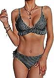 CheChury Conjunto de Bikini con Relleno Push Up Triangular Tartán Sexy Retro Brasileños Mujer Traje De Baño Bikini Mujer Dos Piezas Tartán Cuello Halter Volante Volantes Acolchado Bra
