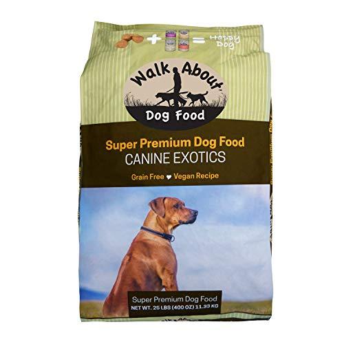 Walk About Pet, WA10038, Super Premium Canine Exotics Dog Food, Dry Alkaline Kibble, Vegan Recipe, Grain-Free, Gluten-Free, Single Source Protein, 25-Pound Bag