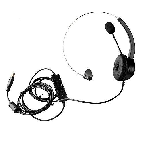 『AGPtek USBヘッドセット ハンズフリー片耳式USBエントリータイプ PCオーバーヘッドフォン ブラック』の7枚目の画像