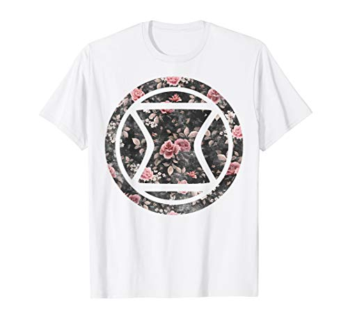 Marvel Black Widow Logo Floral Pattern Icon Graphic T-Shirt