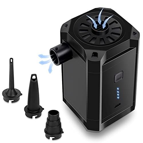 JOLVVN USB Wiederaufladbare Elektropumpe Elektrische Luftpumpe mit Batterieanzeige, Power Pump mit 3 Luftdüse für aufblasbare Matratze, Kissen, Bett, Boot