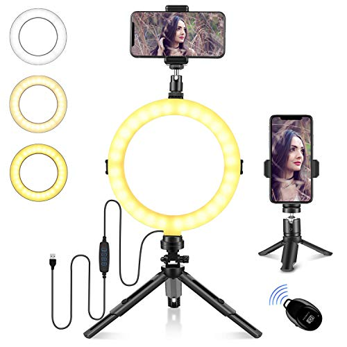 "8"" LED Ring Light with Tripod Stand & Phone Holder for Live Streaming & Makeup, Mini Desk Camera Ringlight with Remote Shutter for Photography/YouTube Video, Compatible with iPhone Android Phone"