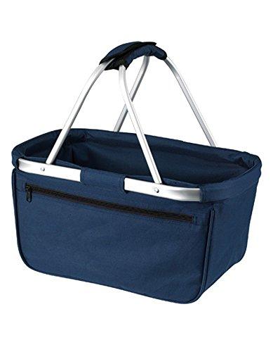HALFAR® HF3939 Shopper Basket Einkaufskorb Korb mit Aluminiumgestäng faltbar , Farbe:Navy