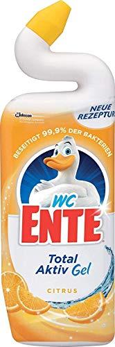 WC Ente Total Aktiv Gel Flüssiger WC Reiniger, mit Entenhals-Technologie, antibakteriell, Citrus Duft, 5er Pack (5 x 750 ml)