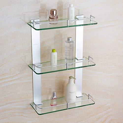 WZNING Estante de cristal de 7 mm, 3 niveles, organizador de baño, accesorios de rosca plateados, tamaño 400 mm