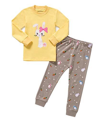 HIKIDS Mädchen Schlafanzug Mädchen Hase Langarm Zweiteiliger Schlafanzug Kinder Herbst Winter Bekleidung Nachtwäsche Pyjama Set 98