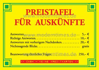 Postkarte Preistafel für Auskünfte