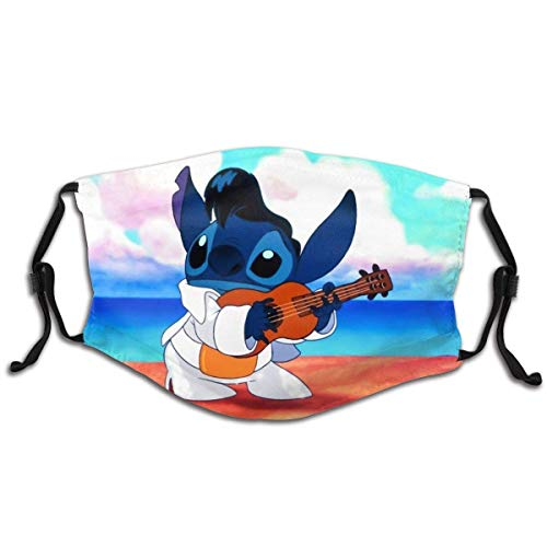 Adjustable Reusable Kids Men Women Protection face Masks with Filter Lilo & Stitch Hawaiian Beach Guitar 1