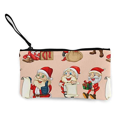 XCNGG Geldbörsen Shell Aufbewahrungstasche Christmas Fabric Santa Checking His List Canvas Coin Purse with Zipper Coin Wallet Multi-Function Small Purse Cosmetic Bags for Women Men