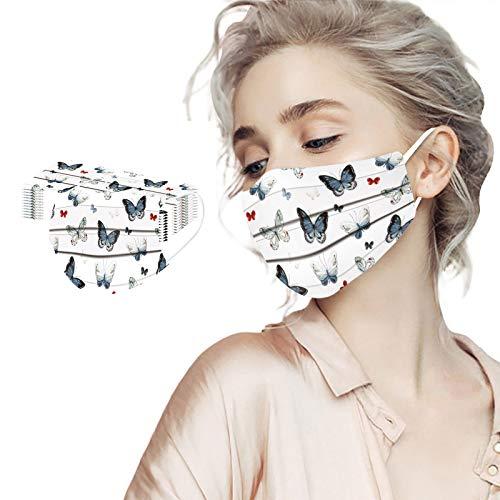 IsMoon 10/20/50/100 Stück Mundschutz Damen Herren Einweg, 3D Schmetterling Motiv Bunt Mund und Nasenschutz Druck Tücher Atmungsaktiv Mund-Tuch Erwachsene Bandanas Halstuch Schals