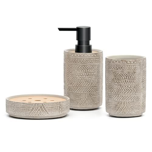 Creativefine Juego de accesorios de baño de 3 piezas, incluye dispensador de...