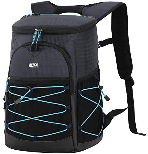 MIER No Leak Cooler Backpack for Men Women Insulated Lightweight Lunch Bag for Hiking, Camping, Beach, Travel, Work, YKK Zip, 24 Cans, Navy Blue