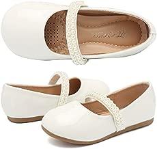 CIOR Toddler Girls Ballet Flats Shoes Ballerina Jane Mary Wedding Princess Dress,VGZA2,PU-White,26