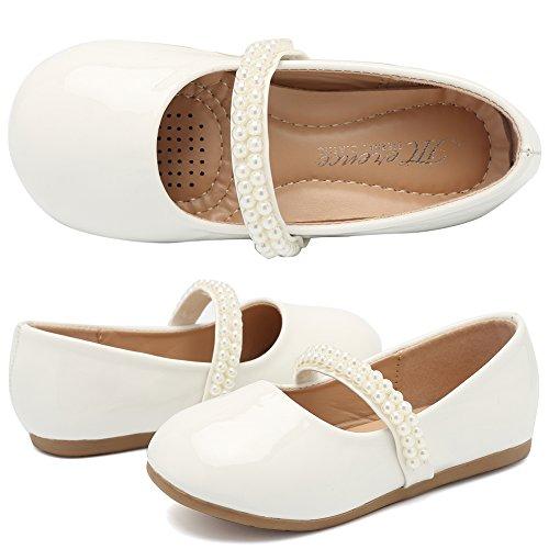 CIOR Toddler Girls Ballet Flats Shoes Ballerina Bowknot Jane Mary Wedding Party Princess Dress VGZA2-whitepuNN-23