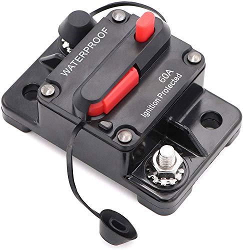 Mottdam Disyuntor de circuito de coche de 60 A, 12 V-48 V CC, resistente al agua, interruptor de circuito en línea de audio de coche con reinicio manual, inversor para coche, barco marino (60 A)