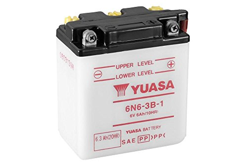 Batterie YUASA 6N6-3B-1, 6V/6AH (Maße: 99x57x111) für Yamaha XT500 Baujahr 1984