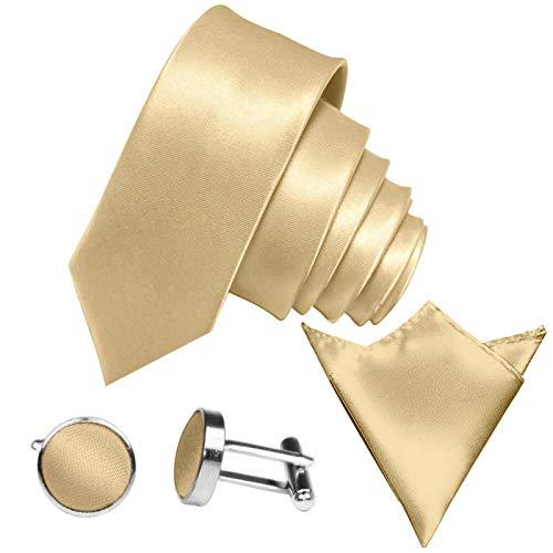 GASSANI 3-SET Krawattenset, 6Cm Schmale Gelb-Goldene Herren-Krawatte Dünn Manschettenknöpfe Ein-Stecktuch, Bräutigam Hochzeitskrawatte Glänzend