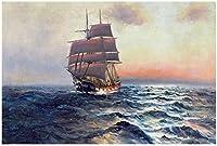 モダンなポスターキャンバス帆船海で帆船波海景ポスター写真リビングルームの家の装飾60x80cmフレームなし