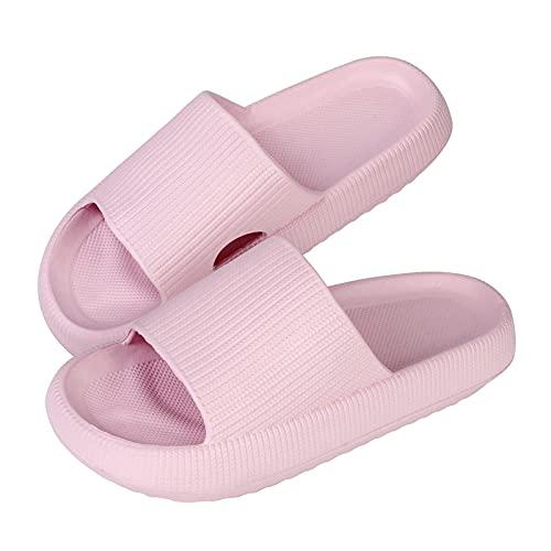 Zapatillas de Almohada Unisex, Zapatillas de baño Antideslizantes, toboganes de Almohada para el hogar, Zapatillas de Interior, Mujeres, Hombres, baño, Zapatos Antideslizantes de Suela Gruesa