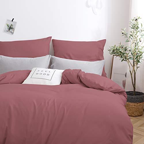 MOHAP Sets de Housse de Couette 220x240cm+2 taies d'oreillers 65x65cm Parure de Lit 2 Personnes Vieux Rose