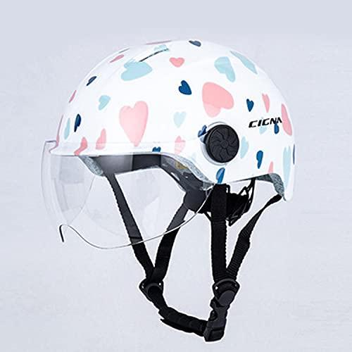 自転車ヘルメット バイク ヘルメット 半帽 軽量 サイズ調整可 通気穴 蒸れにくい シールド付き スポーツ おしゃれ フリーサイズ 防風雨 通気吸汗 通勤通学 男女兼用 冬版/防寒/穴なし (白に花をそえる)