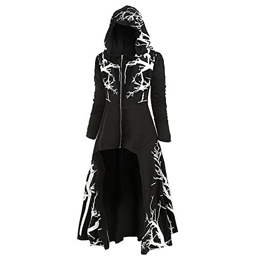 Halloween Kostüm Damen Umhang im gotischen Vintage Stil Kapuzen Cape im Retro Baumdruck Cardigan mit offenem Reißverschluss Trenchcoat in Übergröße Cosplay langes Kleid