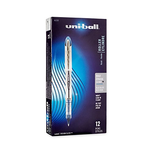 uni-ball Vision Elite BLX Infusion Rollerball Pens, Bold Point (0.8mm), Blue/Black, 12 Count - 61232