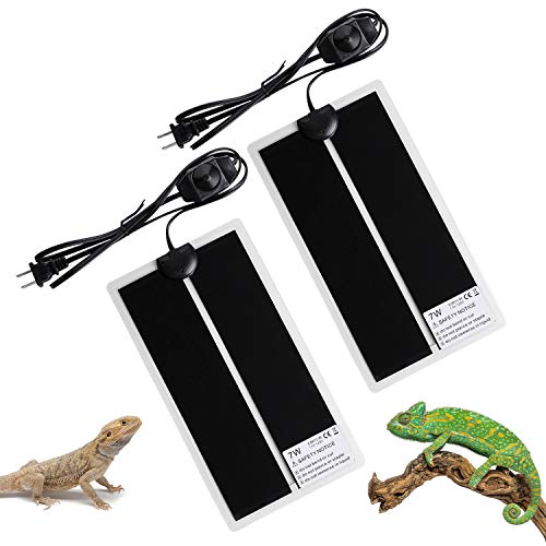 FIVEAGE 7W 11 x 5.9 Inch Reptile Heating Pad Warmer with Temperature Controller, Power Adjustment Under Tank Terrarium Heater Heat Mat for Pets, Small Animals,2 Pack