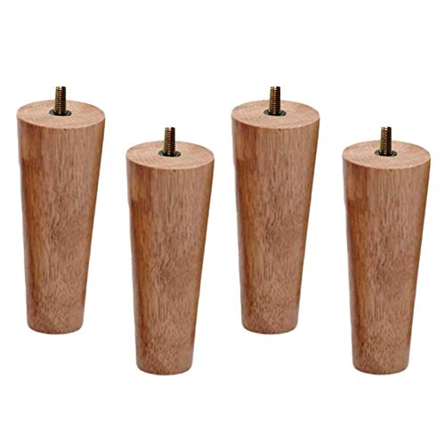 Gambe di mobili in legno massello conico, gambe di divano di ricambio, tavolino da caffè in legno Piedi per caffettiera, per sedia da divano Loveseat ottomano, con bulloni M10 preinstallati, quercia,